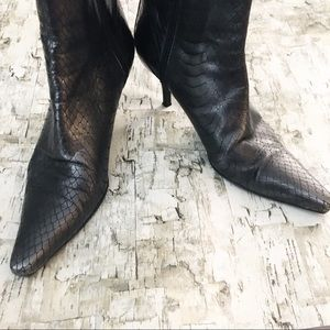 Cole Haan Shoes - Cole Haan Croc Embossed Leather Heeled Boot 7.5AA